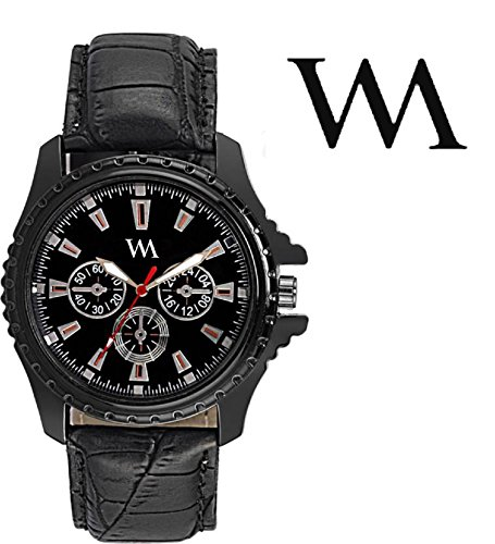 Watch Me Black Dial Black Leather Strap Watch For Men And Boys AWC-001