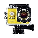 Aokon Sports Action Camera Cam WIFI Waterproof Camera 1080P 12M HD Helmet Motorcycle Video Underwater Cam - 170°Wide Angle Lens - 2.0 Screen - 4X Zoom - 2 Batteries & 18 Accessories Kit (Yellow)