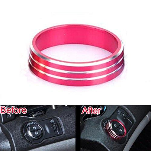 Licht Trim-ring (Daxey Auto-Innenraum Aluminium-Kopf-Licht-Schalter Taste Abdeckung Ring Trim-Rahmen-Dekoration f¨¹r Chevrolet Cruze 2009-2014 Car Styling [Rot])