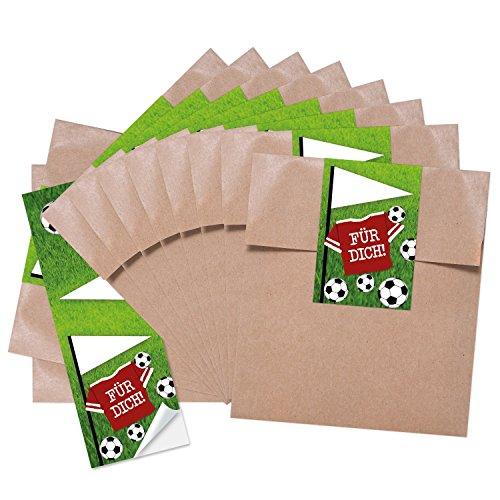 25 kleine braune Geschenktüten Papiertüten Geburtstagstüten 13 x 18 + 2 cm Lasche + mit Aufkleber Fußball FÜR DICH perfekt für die Fußball-Party und jeden Fußball-Fan Verpackung Kinder