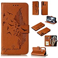Robinsoni Case Compatible with Xiaomi Redmi Note 8 Case PC Leather Wallet Phone Cover Shockproof Kickstand Case Notebook Feather Printed Cover Flip Stand Retro Style Book Case Heavy Duty Case Brown