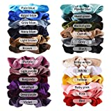 Fameza 24Pcs Korean Velvet Hair Scrunchies Hair Bands Scrunchy Hair Ties Ropes Scrunchie for Women or Girls Hair Accessories with Collection Bags (24 PCS