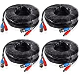 Annke 4 Pack Special Design 30M / 100 Feet BNC Video Power Cable For HD CCTV Camera DVR Security System (Black)