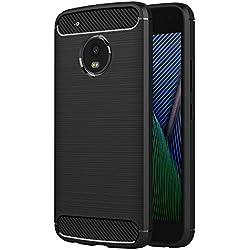 AICEK Funda Moto G5 Plus, Negro Silicona Fundas para Motorola Moto G5 Plus Carcasa Motorola G5 Plus Fibra de Carbono Funda Case (5,2 Pulgadas)