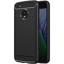 Funda Lenovo Moto G5 Plus, AICEK Negro Silicona Fundas para Motorola Moto G5 Plus Carcasa (5,2 Pulgadas) Fibra de Carbono Funda Case