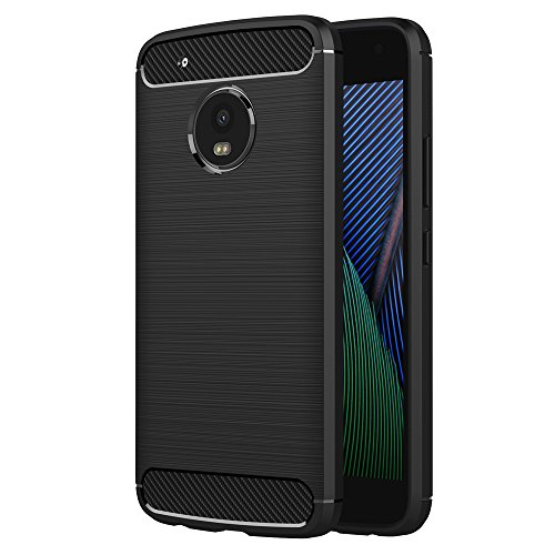 Lenovo Moto G5 Plus Case, AICEK Black Silicone Cover for Motorola Moto G5 Plus Bumper Covers Black Carbon Fiber Case