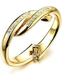 OPK joyas Classic diseño 18K chapado en oro brazaletes de puño abierto incrustaciones circonitas cúbicas, regalo para las mujeres degradado)