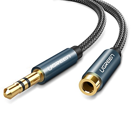 UGREEN Klinke Verlängerung Kopfhörer Verlängerungskabel Audio Verlängerung Kabel 3,5mm Klinke Verlängerung Nylon mit Vergoldete Kontakte (5m, Blau) thumbnail