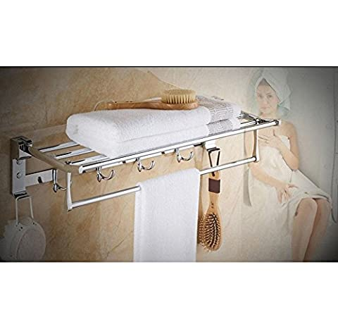 YANXH Moderne Wandmontierte Edelstahl-Regal Handtuchhalter Chrom überzogen mit Haken für Hotel Badezimmer Waschraum Bad (Nickel Poliert Kabinett Hardware)