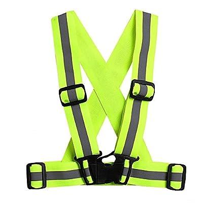 Kingnew Einstellbare Reflektierende Weste Elastische Straps Visible Gear Sicherheitsweste für Laufen, Gehen, Radfahren, Reiten, Motorrad (Fluorescent grün)