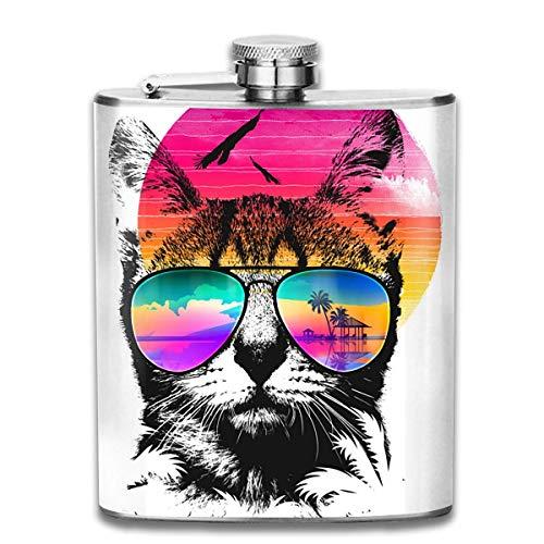 7 Unze Edelstahl Flask Pot Flachmann Katze trägt Sonnenbrille Wasserkocher Jug Rum Container Flaschentasche für Unisex