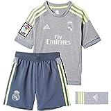 adidas 2ª Equipación Real Madrid CF SMU Mini - Conjunto, color gris / lima, talla 140