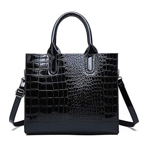 b85c57b7f64ec OPmeA Damenhandtasche Leder Crossbody Schlangenhaut Textur PU Leder  Schultertasche (Farbe   SCHWARZ)
