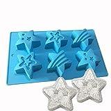 Jun Weihnachten Cute Silikon Bath Bomb Form Fizzies Star Form Seife Form 6Mulden
