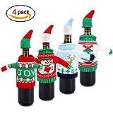 Howaf 4 Stück Weihnachten Tischdeko Weihnachten Pullover Weinflasche Abdeckung Verpackung Flaschenüberzieher Geschenk für Weihnachten Deko