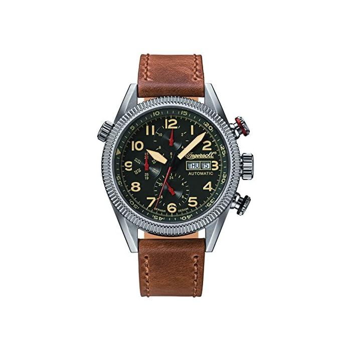 Ingersoll Herren Analog Automatik Uhr mit Leder Armband IN1102GU