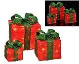 Gravidus 3er Set beleuchtete Geschenkboxen Weihnachten - Rot