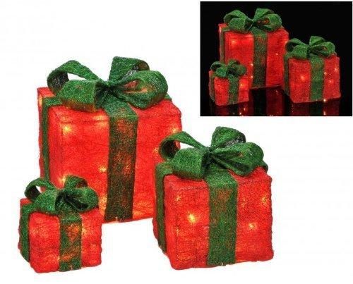 Gravidus 3er Set beleuchtete Geschenkboxen Weihnachten - - Beleuchtete Geschenkboxen Weihnachten