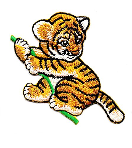 Disney Kostüme School Old (Baby Tiger Animal Zoo Wild Baum Cartoon Kids Cartoon Patch für Heimwerker-Applikation Eisen auf Patch T Shirt Patch Sew Iron on gesticktes Badge Schild)