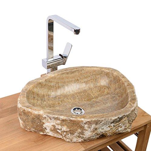 WOHNFREUDEN Onyx Steinwaschbecken 56x45x14 cm oval Marmor Waschbecken Bad Gäste WC