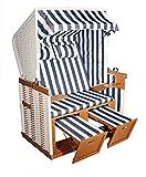 Hansen 10/551/1/1 Nordseestrandkorb aufgebaut, Holz mittelbraun, Kunststoffgeflecht in weiß, Bezug: blau weiß gestreift B 125 T 86 H 154 cm