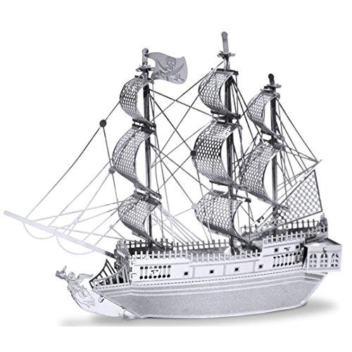 Fascinations Metal Earth MMS012 - 502600, Black Pearl Pirate Ship, Konstruktionsspielzeug, 2 Metallplatinen, ab 14 Jahren
