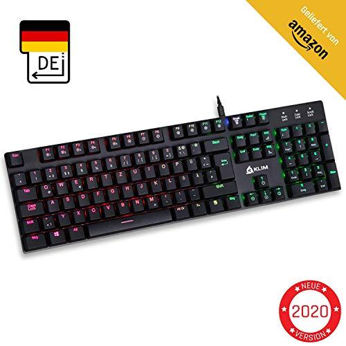 KLIM Dash - Niedrigprofil mechanische QWERTZ Tastatur mit roten Schaltern für kultivierte Professionelle Anwender und Gamer - RGB Farben - Metallrahmen Vollständige Anpassbarkeit
