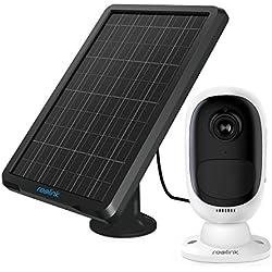 REOLINK Argus 2 avec Panneau Solaire Full HD 1080P Sécurité Extérieure Caméra IP Batterie Rechargeable Couleur Capteur Starlight WiFi Caméra avec Fente SD Carte Support 64GO (Panneau Solaire Inclus)