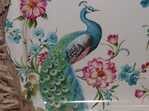 Boite-a-cadeaux - Plateau Mélamine Peacock Paon Bleu Et Blanc Royal Garden