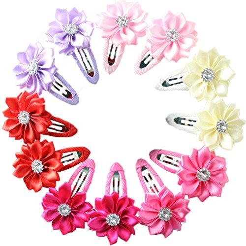 HABI 12 stk mehrfarbig Haarspange Blume geformt Haarklammer mit Perle Fliege Schleife für Mädchen