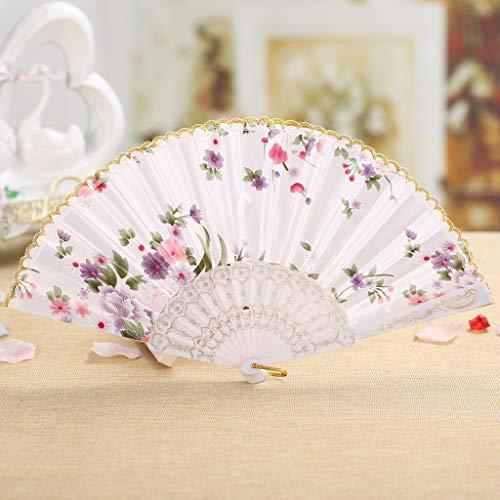 TianranRT Am besten Chinesisch Stil Tanz Hochzeit Party Spitze Seide Falten Hand Held Blume Fan (Weiß)