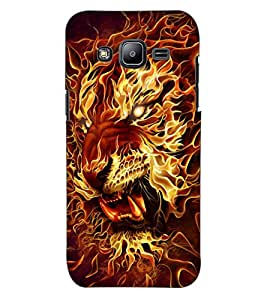 ColourCraft Flaming Tiger Design Back Case Cover for SAMSUNG GALAXY J2 DUOS