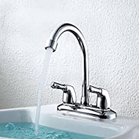 Aissimio Kitchen Tap Bathroom Sink Mixer Tap 360 Degree Rotating Spout Chrome-Plated Copper Body Single Lever Hot and Cold Water Kitchen Tap (Type E)
