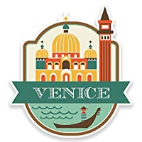 2 x 10cm Venice Italy Vinyl Sticker Luggage Travel Tag Label Car Italian #9187 (9.2cm Wide x 10cm Tall)