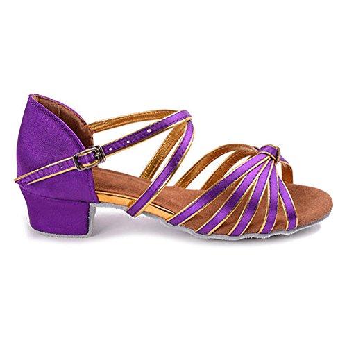 Ykxlm Femmes Et Petites Filles Chaussures De Danse Latine En Satin / Chaussures De Salle De Bal Standard, Modèle-it203 Violet