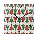 QMIN Wanduhr grün Kardinal Weihnachtsbaum-Muster, quadratische Uhr, geräuschlos, kein Ticken, leise Uhr für Schlafzimmer, Wohnzimmer, Küche, Büro, Home Decor