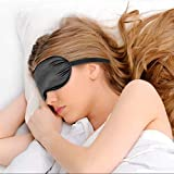 Yimidon Mascherina Dormire, Mascherina Occhi Aereo, Sonno Maschera Alta Qualita, Copri Occhi per Notte Dormire per Donna e Uomo - Seta Naturale Pura con Cinghia Orientabile, Nero