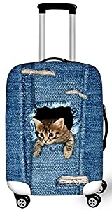 FOR U DESIGNS 2017 Nouveau étanche toile chat mignon elastique housse valises Avec fermeture éclair pour 18-28 pouce housse de protection de valise housse valise