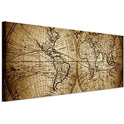 150x 50cm–cuadro panorámico Foto lienzo en sepia Vintage Mapa Del Mundo 1733