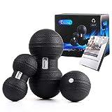 EKKONG Faszientool-Sets, 2 x DUOBALL (13cm&9cm Durchmesser), 1 x Massageball (11cm Durchmesser) für die Massage paralleler Muskelstränge, beispielsweise neben der Brust- und Lendenwirbelsäule