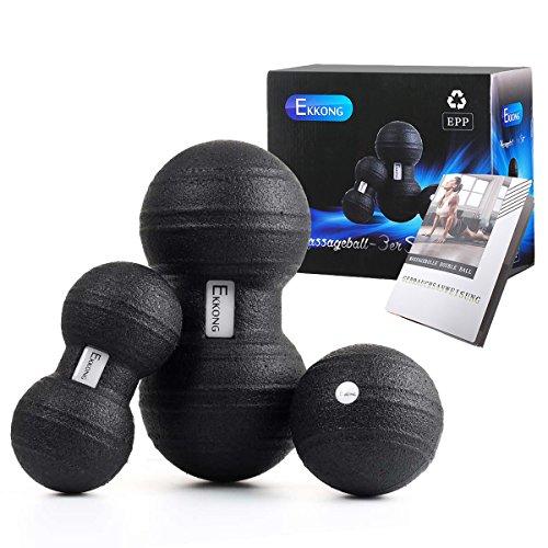 EKKONG Faszientool-Sets, 2 x DUOBALL (13cm&9cm Durchmesser), 1 x Massageball (11cm Durchmesser) für die Massage paralleler Muskelstränge, beispielsweise neben der Brust- und Lendenwirbelsäule (Roller Bälle Für Rückenschmerzen)