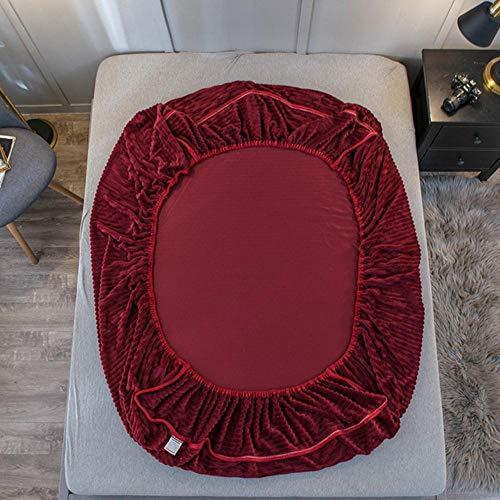 PENVEAT Winter einfarbig warme Spannbetttuch weichen Samt Matratzenbezug Vier Ecken mit Gummiband Bettwäsche Kissenbezug # s, Yuan-CL-Hong, 1pc 150x200x30cm