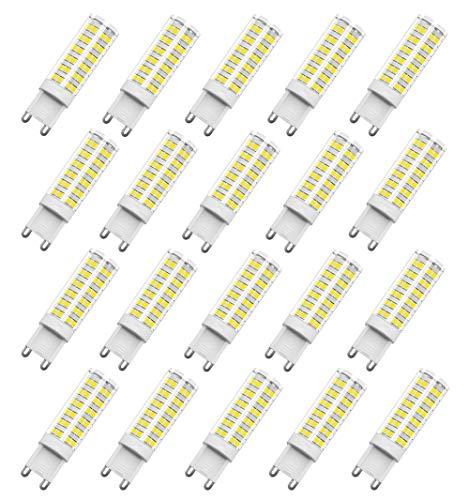 Ampoule LED G9, RANBOO, 7W, 60W Ampoule Halogène Équivalent, Blanc Froid 6000K, Ampoule LED, 220-240V AC, 450lm, 360° Larges Faisceaux, Culot G9, Lot de 20