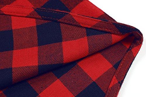 Coofandy Herren Hemd Langarm Kariert Freizeit Hemd Baumwolle Button-down Rot Und Blau