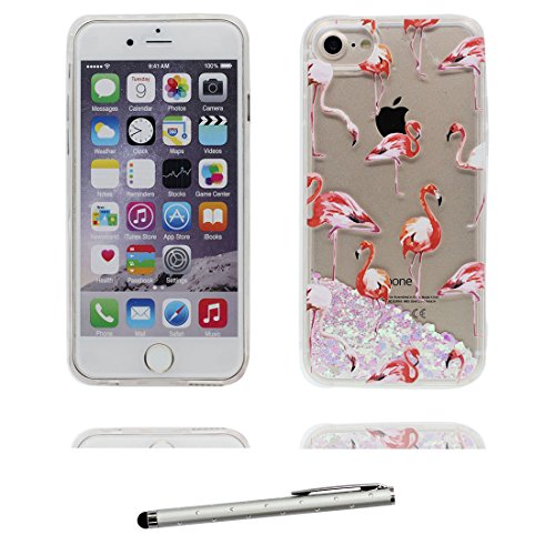 "iPhone 6 Coque, [Flamant Bling Glitter] iPhone 6s étui Cover (4.7""), Fluide Liquide Sparkles Sables iPhone 6 Case (4.7""), Greater Flamingo Shell anti- chocs et stylet Flamant"