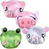 4 Pezzi Cuffia per Doccia Impermeabile Cappello da Bagno Riutilizzabile Bambini Cuffia da Doccia con Impronta Animale per Bambini Ragazzi Ragazze