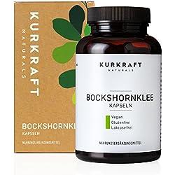 Kurkraft Bockshornklee Aktiviert - LABORGEPRÜFT - Vegan - 550mg je Kapsel - 180 Kapseln - Natürlich - Ehrlich - Rein - ohne Zusatzstoffe - Sorgfältig hergestellt in Deutschland