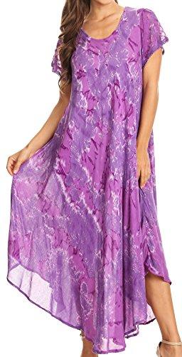Sakkas Sayli Lungo Tie Dye del manicotto della protezione ricamato collo largo caftano Dress / Cover Up Viola