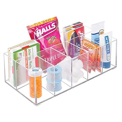 confronta il prezzo mDesign Organizer per cosmetici ? Box a 6 scomparti per riordinare trucchi, flaconi e altri accessori da bagno ? trasparente miglior prezzo