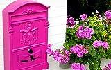 Hansmeier Briefkasten Pink - Moderner Retro-Style - 42 x 26 cm - Multifunktionale Deko mit Schloss - Extravagant - Wandbriefkasten Vintage